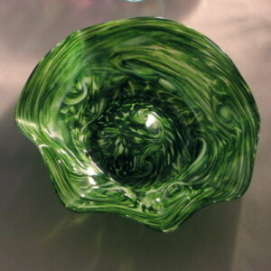 Crinkle Bowl - Small, adventurine green and white