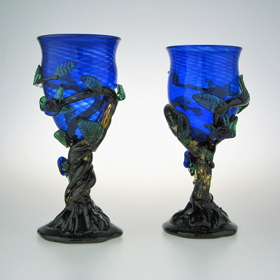 Goblets - Leafy, blue