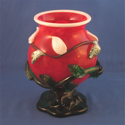 Bowl - Leafy, red