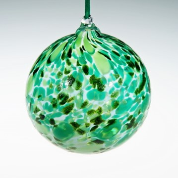 Round Ornaments - green mix and white