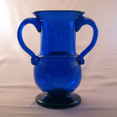 Vase - Early American, blue with handles