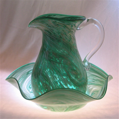 Pitcher and Bowl Set - green and white