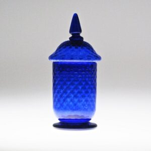 Jar - Early American, cobalt with lid