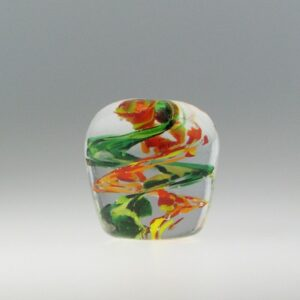 Paperweight - fire and green