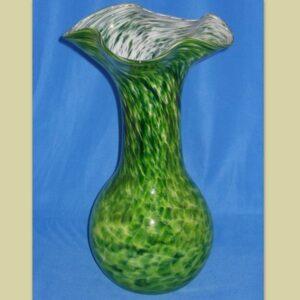 Vase - Crinkle, Adventurine green and white