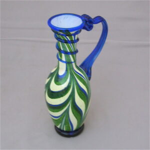 Bottle - Roman, green and white with cobalt handle