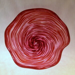 Crinkle Bowl - ruby and white