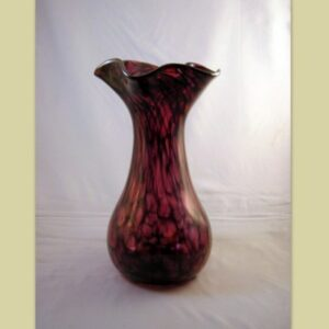 Vase - Crinkle, ruby and black