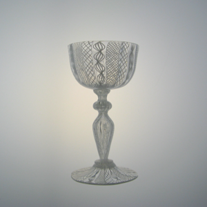 Italian Canework Goblet with Blown Stem