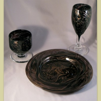 Goblet, Water Cup, and Plate - black and gold