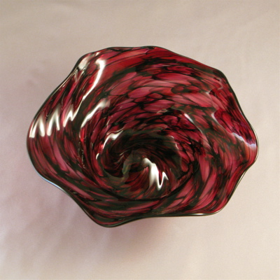 Crinkle Bowl - Small, ruby and black optic twist