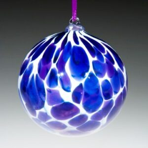 Round Ornaments - White with blue spots