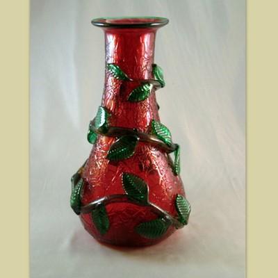 Bottle/Vase - Leafy, ruby