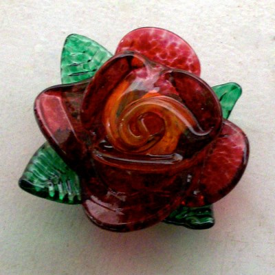 Paperweight - Rose, red with yellow center