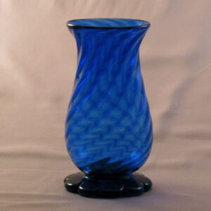 Vase - Early American, blue, optic with lobed foot