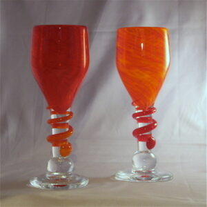 Pair of Orange Goblets with Wraps