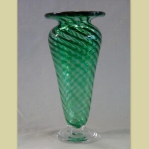 Vase - green with clear foot